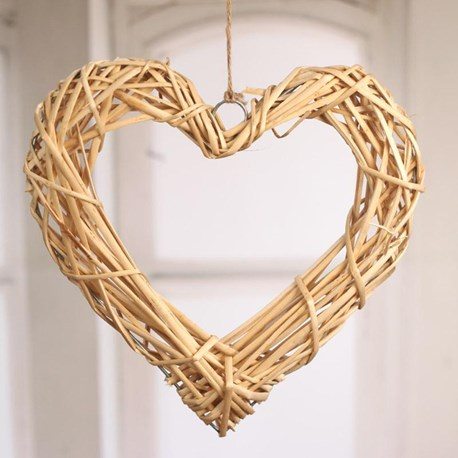 Woven Heart Hanger Large - natural or white