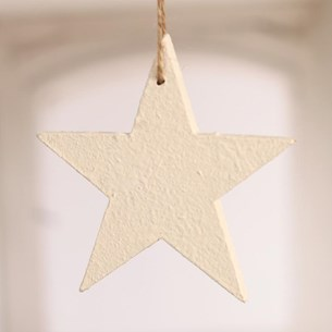 White Hanging Star with Twine - Two Sizes