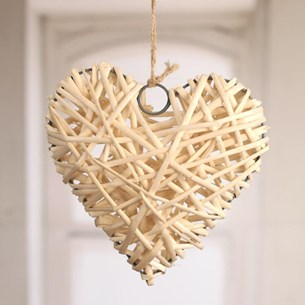 Woven Heart Hanger Small - natural or white