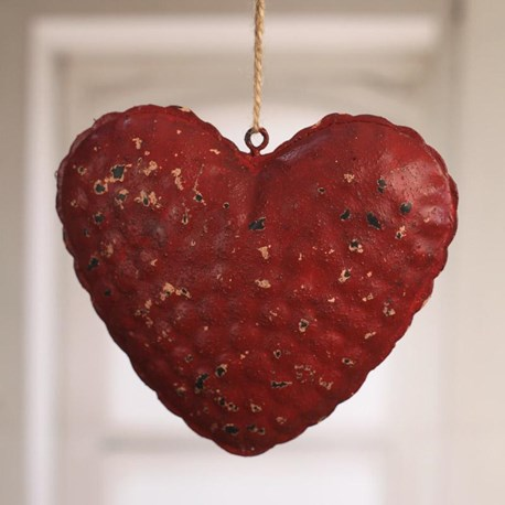 Rustic Tin Heart Hanger Large - red or cream