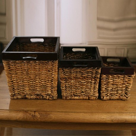 Set of Three Banana Leaf Storage Baskets