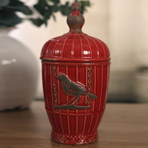 Ceramic Canister 'Birdcage' - Red