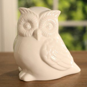White Ceramic Owl