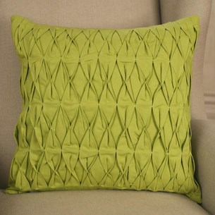 Ruched Cotton Cushion - Green