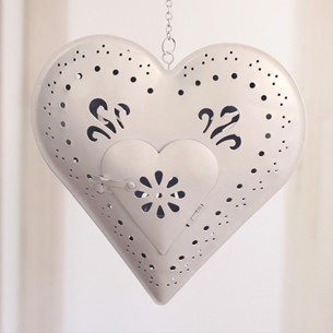 Heart Tea Light Holder White Large