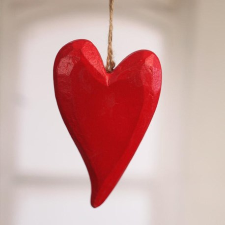Carved Wooden Heart Red