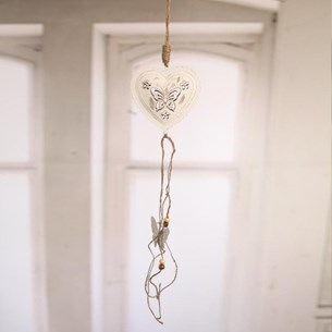 Hanging Heart with Metal Butterfly Design