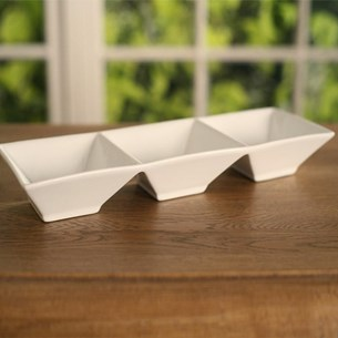 Three Bowl Serving Dish Straight Edge
