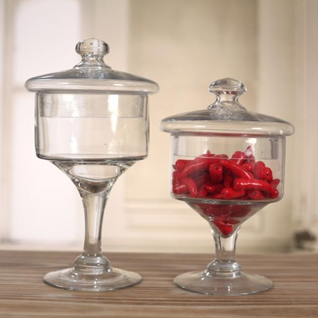 Glass Jars on Pedestal - Two Sizes