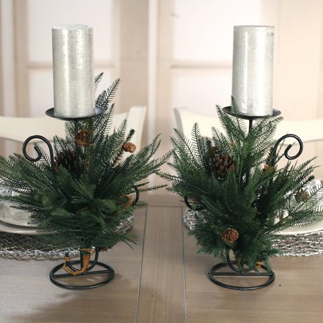 2 x Table Centres One Candle Fern
