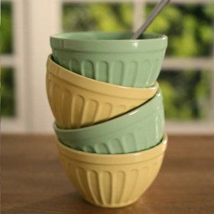 Parlour Ice Cream Bowls - Yellow and Green