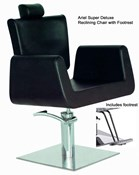 ARIEL SUPER DELUXE RECLINING CHAIR in black. Very modern new design, Ideal for hair or beauty salon.