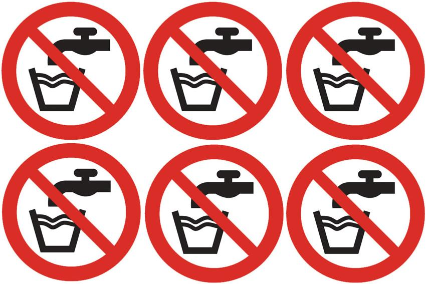 Safety lables no water symbol pack to sheet
