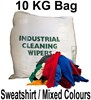 Mixed Colours Very Absorbent Sweatshirt Rags - 10KG Bag - [MW-SS10KGBAG]