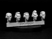 SMA3XX Heroic Scale Female Heads NARROW - Techno Raiders Sprue 1