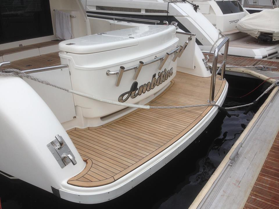 Maritimo 52 - removal and replacement of new solid teak deck for the swim platform. Alexander Scholz
