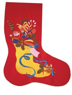Large Christmas Stocking on red velvet