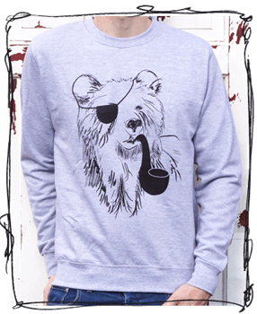 Pirate Bear Grey Jumper - Grey or Charcoal/Black Sleeeves