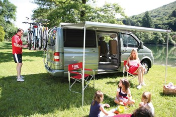 Fiamma F45S awning. VW T5 & T6 300cm (LWB) - Titanium case with a Royal Blue canopy (without awning rail fitted)