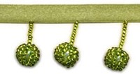 1 Inch Beaded Ball Fringe - Olive Green