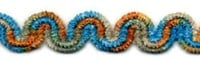 Chenille Ric Rac0.625inch Turq Sage Gold Multi