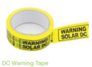 DC Warning Tape Black on Yellow 50m Roll AV/DCWT50Y