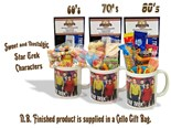 NEW IN.. Star Trek Characters Mug with/without a space travelling selection of 60's/70s or 80's retro sweets.