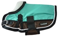 Waterproof Dog Coat 3022 (Small Doggies) Teal/ Chocolate