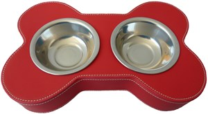 Leather Bone Shaped Pet Bowl (Red)