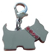 Scottie Dog  Crystal Charm (Pink/Silver)