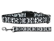 Damask Dog Collar (Black & White)