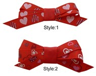 Heart Valentines Day Dog Hair Bows (4 Pack)