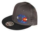 CO Flag - Black and Charcoal - Mesh Snapback Hat
