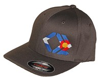 CO Flag - Gray Curved Brim - FlexFit Hat