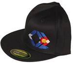 CO Flag - Black, Flexfit, Flat Brim Hat