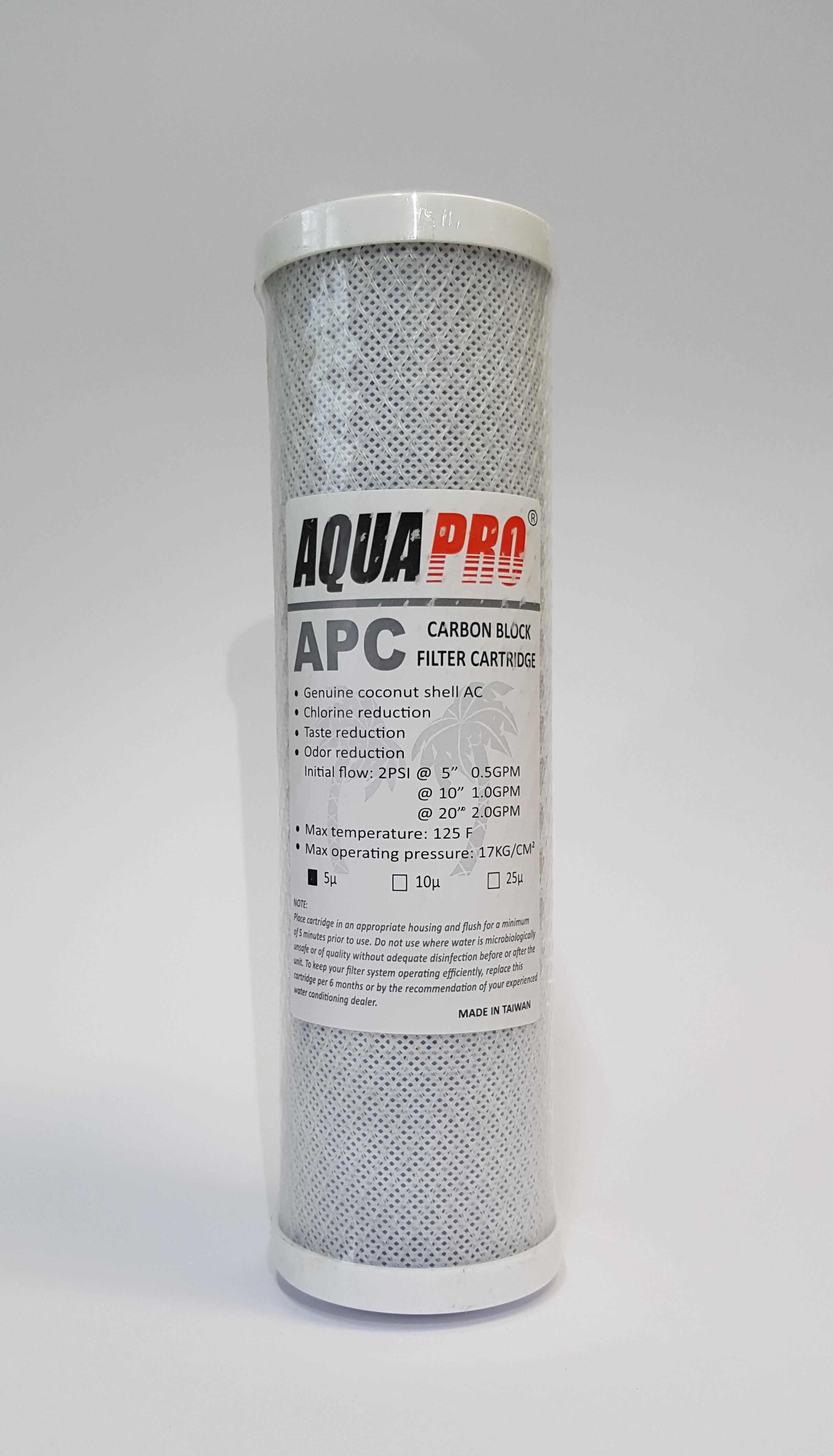"""AQUAPRO GRANULATED ACTIVATED CARBON 20/"""" x 4.5/"""" 5 Micron CARTRIDGE REFILLABLE"""