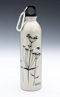 EARTHLUST COW PARSLEY SILVER STAINLESS STEEL DRINK BOTTLE 600 ml