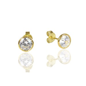 Gold Rubover 'Diamond' Studs