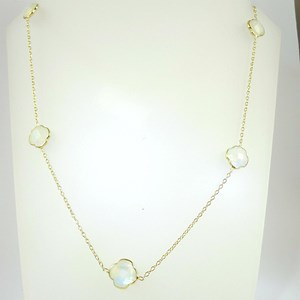Gold Clover Gemstone 17.5 - 19.5 inch necklace