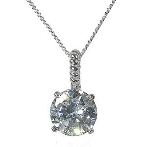 The Single Diamond & Silver twist Pendant