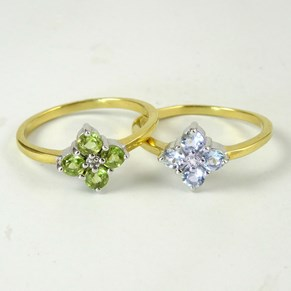 Blue Topaz, Peridot and REAL DIAMOND Flower Rings