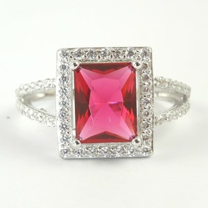 Square-cut 'Ruby' Ring With 'Diamond Shoulders'