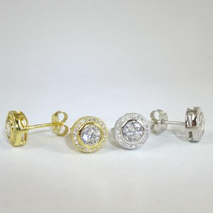 NEW! 'Diamond' Rubover Circle Studs in silver or gold-plate