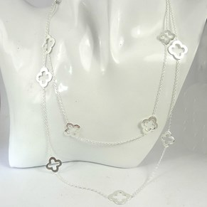 "The Fabulous 40"" Silver Clover Necklace"