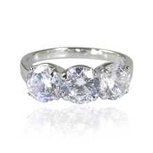 Three 'Diamonds' Trilogy CZ Ring