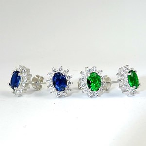 NEW! Sapphire and Emerald Cluster Oval Stud Earrings