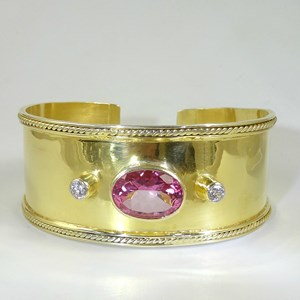 REAL Blue Topaz and Pink Topaz Guinevere Arm Cuffs