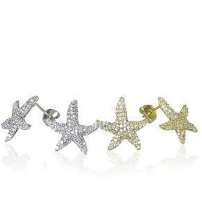 Sparkling 'Diamond' Starfish CZ Stud Earrings - In Gold and Silver