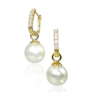 Detachable Pearl and Gold-plated  Leverback Hoop Earrings