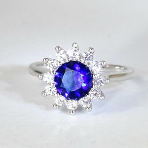 Sapphire Cluster Rings; two styles